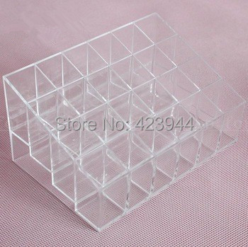 24 Grid Square transparent lipstick rack make-up lip gloss lipstick mascara display rack for cosmetics storage box(China (Mainland))