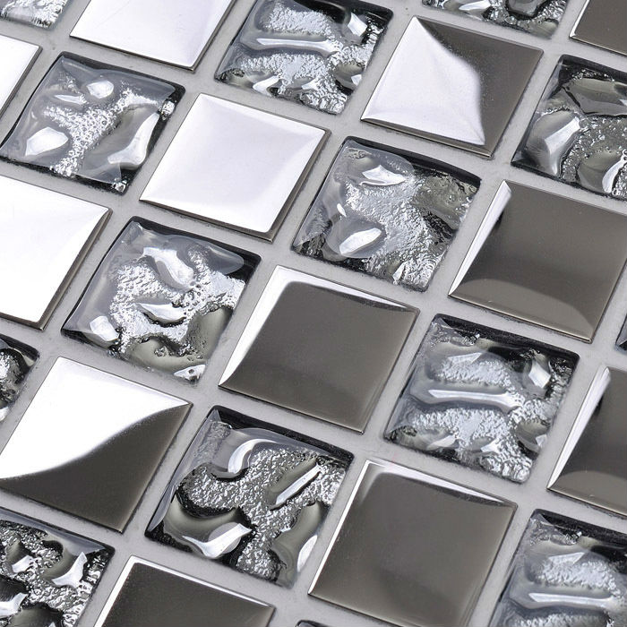 Silver Kitchen Wall Tiles: Silver Kitchen Plated Backsplash Wall Tile Borders
