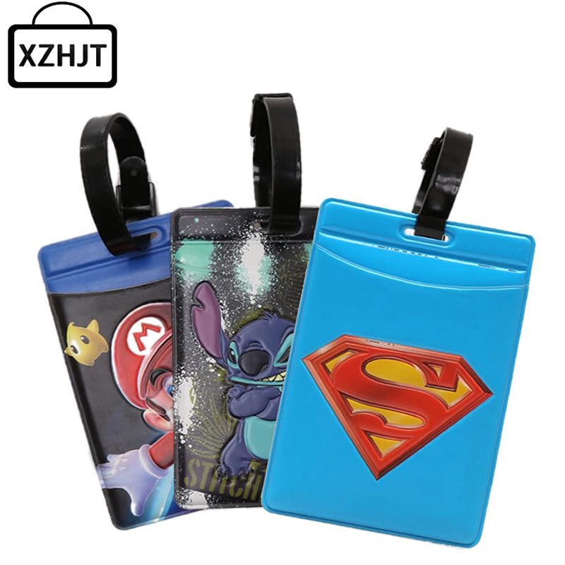 Cute Cartoon Superman Stitch Large Luggage Tag PVC Suitcase Baggage Boarding Tags Portable Address Label Name Travel Tags(China (Mainland))