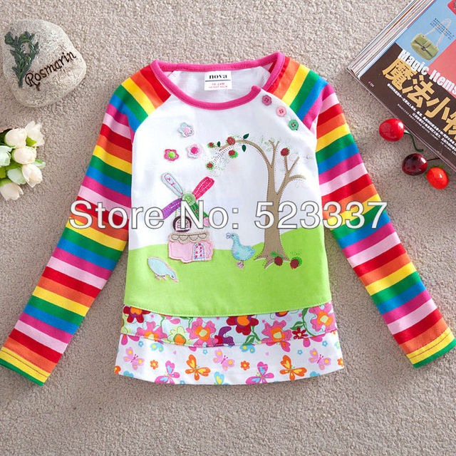 2014 new hot fashion nova kids brand baby children outwear girls clothing cotton spring long sleeve t-shirt for baby girls F1411