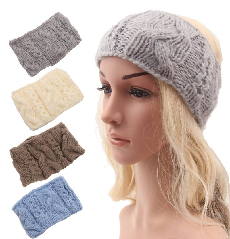 50 pcs/lot Warm knit Women Headbands Winter Female Bohemia Twisted Sweet and lovely Ear Headwrap Accessories 1045Îäåæäà è àêñåññóàðû<br><br>