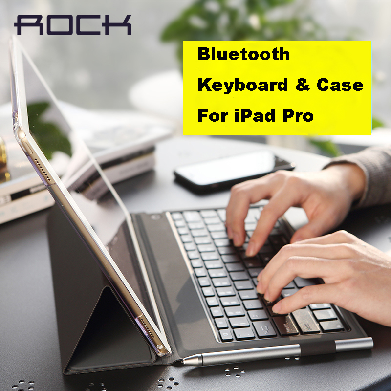 ROCK PU Leather Case Cover Protective Bluetooth Keyboard Case for iPad Pro 12.9' Stand Holder Bluetooth Keyboard Case Cover(China (Mainland))