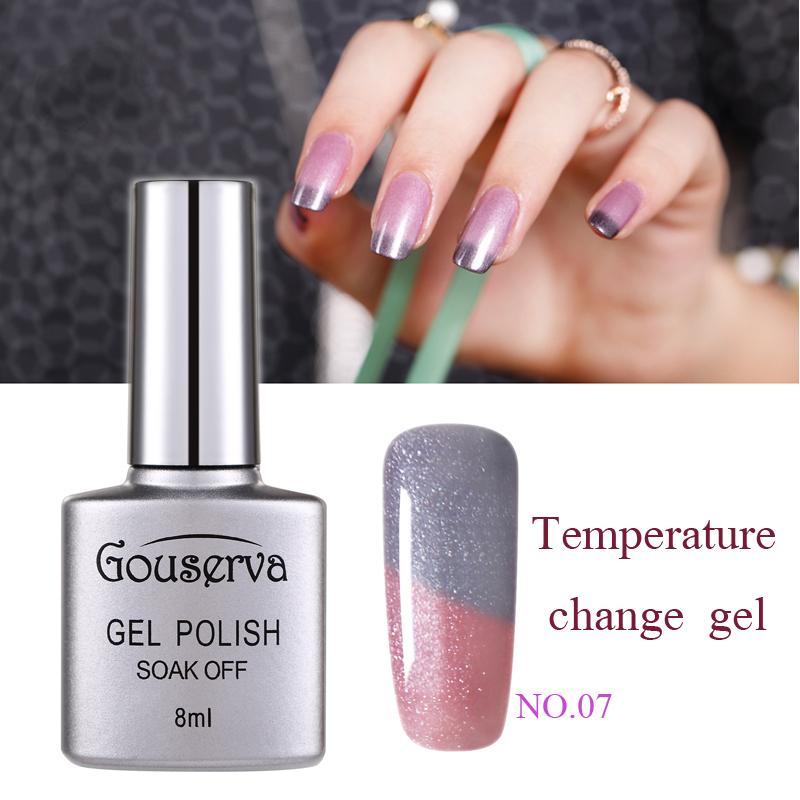 Gouserva 8ml Temperature Mood Color Changing UV Nail Gel Polish 12 Color Choose Soak Off Long-Lasting Chameleon Gel Nail Polish(China (Mainland))