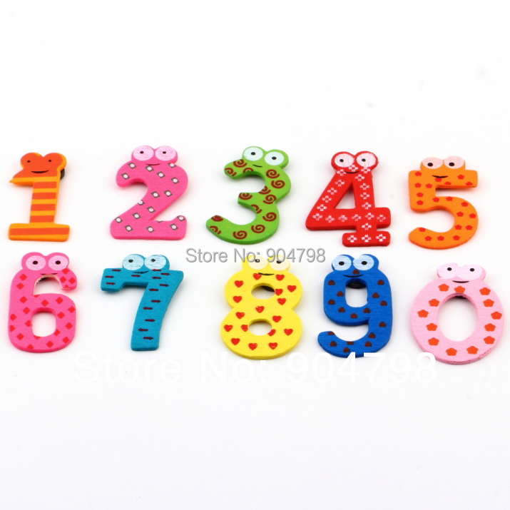 1set X mas Gift Set 10 Number Wooden Fridge Magnet Education Learn Cute Kid Baby Toy YKS(China (Mainland))