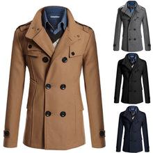 High quality 2014 Men's Dust Coat mens overcoat winter men's trench coat long trench coats Men's Hot Stylish Woolen Jacket(China (Mainland))