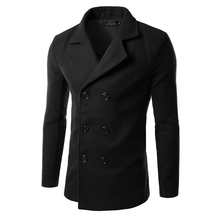 New Pea Coat men Winter Fashion Mens Slim Double Breasted Wool Blend Trench Coat Casual Peacoat Duffer Coat Men Manteau Homme(China (Mainland))