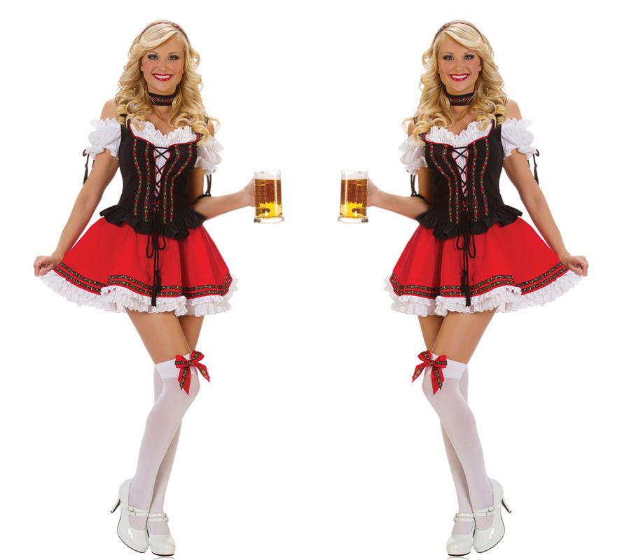 One Size Woman's Sexy Halloween Masquerade Oktoberfest Cosplay Costumes Restaurant and Bar Waitress Role Play Disfraces H157296(China (Mainland))