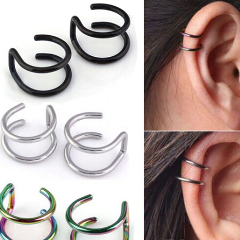 2 Pcs/set Men Women Ear Clip Cuff Wrap Earrings Fashion 4 Colors Clip-on Earrings Non-piercing Ear Cuff Eardrop(China (Mainland))