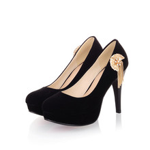 Free shipping women suede pumps round waterproof fine high heels with metal chain custom size 30-48HQW-0046