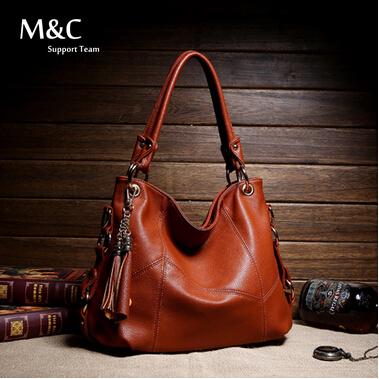 Women Handbag Genuine Leather Bag For Women Messenger Bags Tassel Cowh