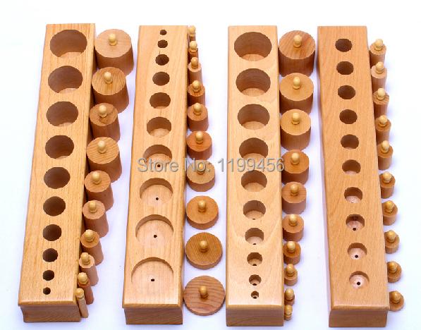 Baby Toy Montessori Cylinder Blocks Sensorial Preschool Training Toys Beechwood(China (Mainland))