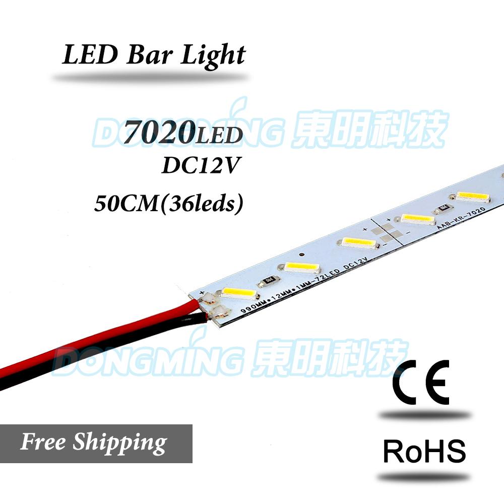 10pcs/Lot 36Leds 0.5m LED bar light 7020 SMD IP22 12V rigid aluminum led strip light led rigid bar Free Shipping(China (Mainland))