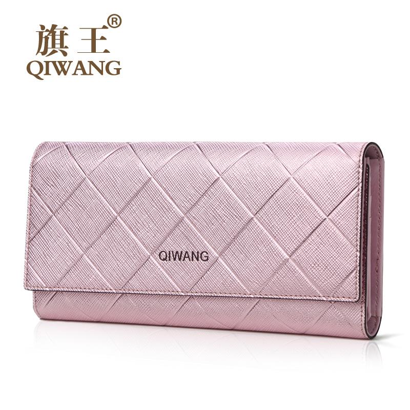 Qiwang Peach Blossom Women Trifold Wallet Luxury Brand Design Cross Square Nice Shape Lady Wallet Purse Designer Lady Bag(China (Mainland))