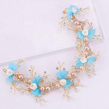 Diadema de novia con lazo azul bonito diadema de perlas de cristal con flores decoraciones para el cabello de boda tocado de novia SQ359(China)