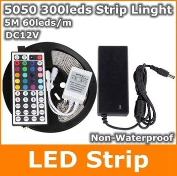 5050 RGB Led Strip NO Waterproof 5M SMD 5050 300leds + 44 keys IR Remote Controller + 12V 5A Power Adapter