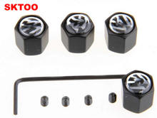 Free Shipping Theftproof Stainless Steel Black 4PCS Car Wheel Tire Valves Tyre Stem Air Caps Airtight Cover for Volkswagen(China (Mainland))