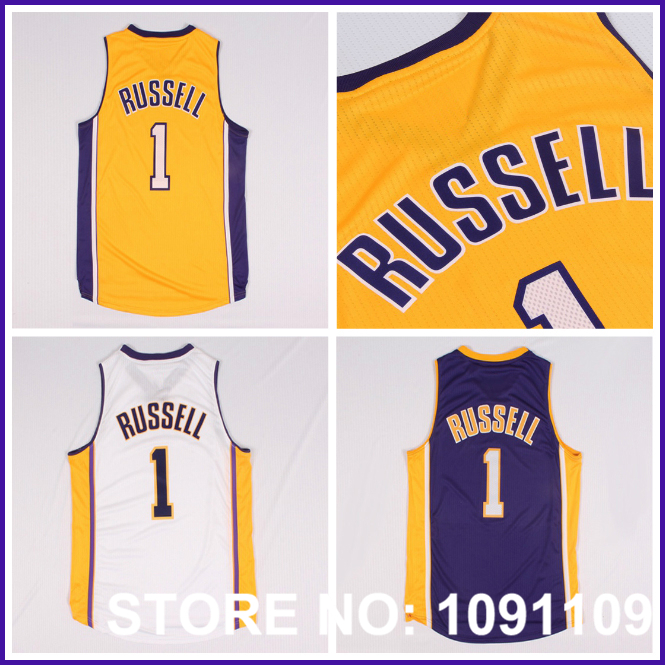 Los Angeles #1 D Angelo D'Angelo Russell Jersey, Draft15 Cheap D'Angelo Russell Basketball Jersey, S-XXL Free Shipping(China (Mainland))