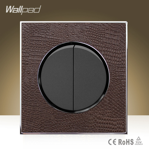 Hot Sale Wallpad Round 2 Gang 2 Way Goats Brown Leather AC Double Control Push Button Wall Mount Switch Plate,Free Shipping(China (Mainland))