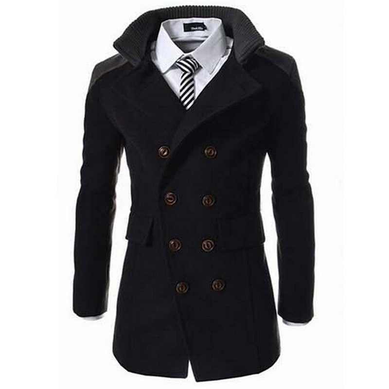 (clearance)2016 Fashion Men's Autumn Winter Coat Turn-down Collar Wool Blend Men Pea Coat Double Breasted Winter Overcoat MWN113(China (Mainland))