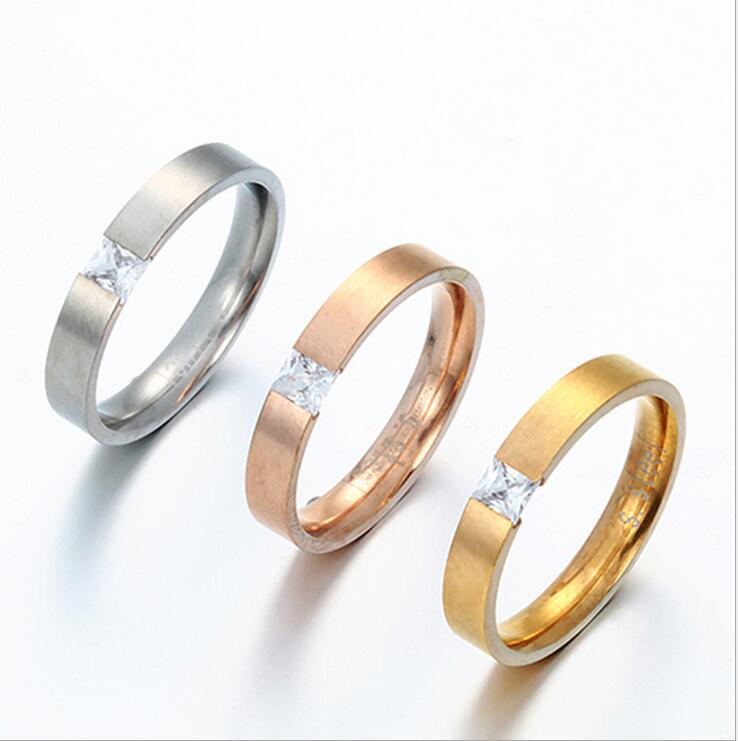 Classic CZ Stone Stainless Steel Engagement Ring lovers promise Ring For Men Women Copule Ring(China (Mainland))