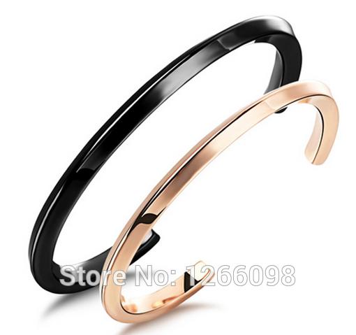 Top Hot Sale Fashion Titanium steel Bracelet Wholesale Stainless steel black/rose golden Bracelet for lover<br><br>Aliexpress
