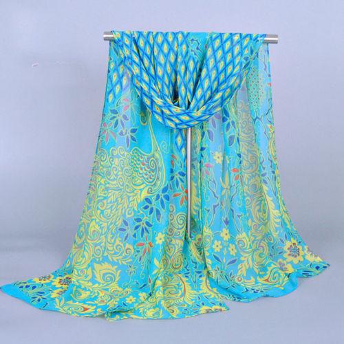 ODEMA Korean Popular Fashion Women Ladies Peacock Chiffon Scarf Soft Shawl Silk Wrap Neck Warm Stole