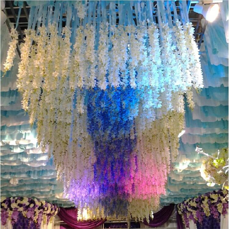 New 2015 white artificial hanging orchids plants silk for Artificial flowers for wedding decoration
