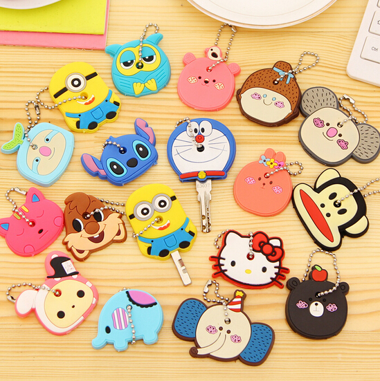 novelty items hello kitty silicone key cover, cute key cap keychain women key chain key ring, anime key yaq55555(China (Mainland))