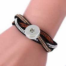 Buy 1PC High Bling White Brown Crystal Diy Snap Leather Bracelets 18mm Metal Button Charm Snap Bracelet Bangles 8colors! for $1.64 in AliExpress store