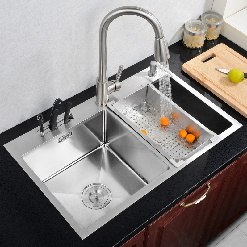 Wonderful Cheap Stainless Steel Sinks Kitchen #4: Free Shipping Kitchen 304 Stainless Steel Hand Sink Basin Washing Dishes Double Trough Thick Package German