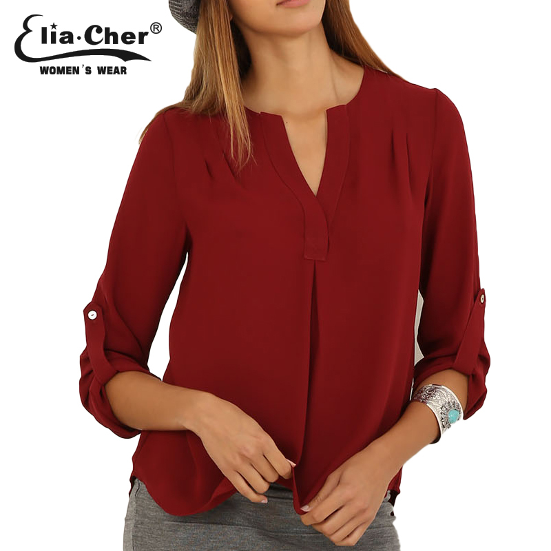 Women Blouses 2015 Fashion Women Shirt Tops Eliacher Brand Plus Size Casual Female Blouse Clothing Chic Elegant Lady Shirts Top(China (Mainland))