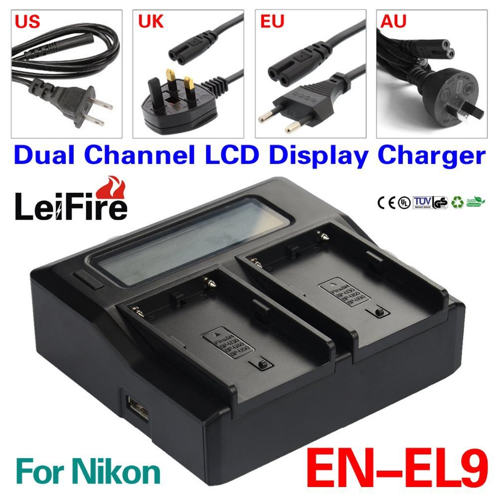 LCD Dual Channel Battery Charger EN-EL9 ENEL9 Nikon EN-EL9a D5000 D3000 D60 D40X MH-23 Camera - JUSTDO store