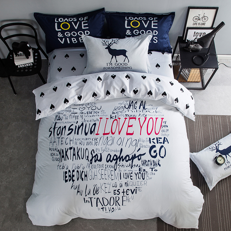 wedding bedding set i love you Summer duvet cover twin queen king size bedding cat bed linen horse flat sheet white bedclothes(China (Mainland))
