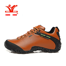 2016 XIANG GUAN Unisex Fashion leather waterproof hiking shoes slip resistant shoes, Climbing Outdoor shoes breathable shoes low(China (Mainland))
