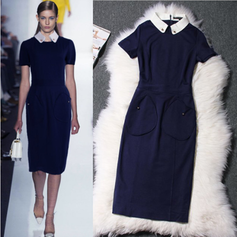 ! Fashion Runway Summer 2014 Brand Women Short Sleeve Knitted Cloth Slim Mid-Calf Blue Office Dress Plus Size XXL