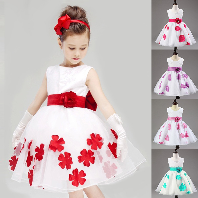 2015 New Kids Girl Dress Floral Dresses For Girls Sleeveless Girls Clothes White Princess Party Dress Summer Children Clothing(China (Mainland))