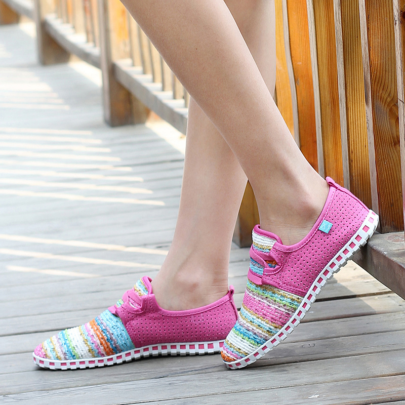 Гаджет  Hot Sale ! Summer women Casual Canvas Espadrilles Lace Sneakers Driving rainbow Shoes--free shipping None Обувь
