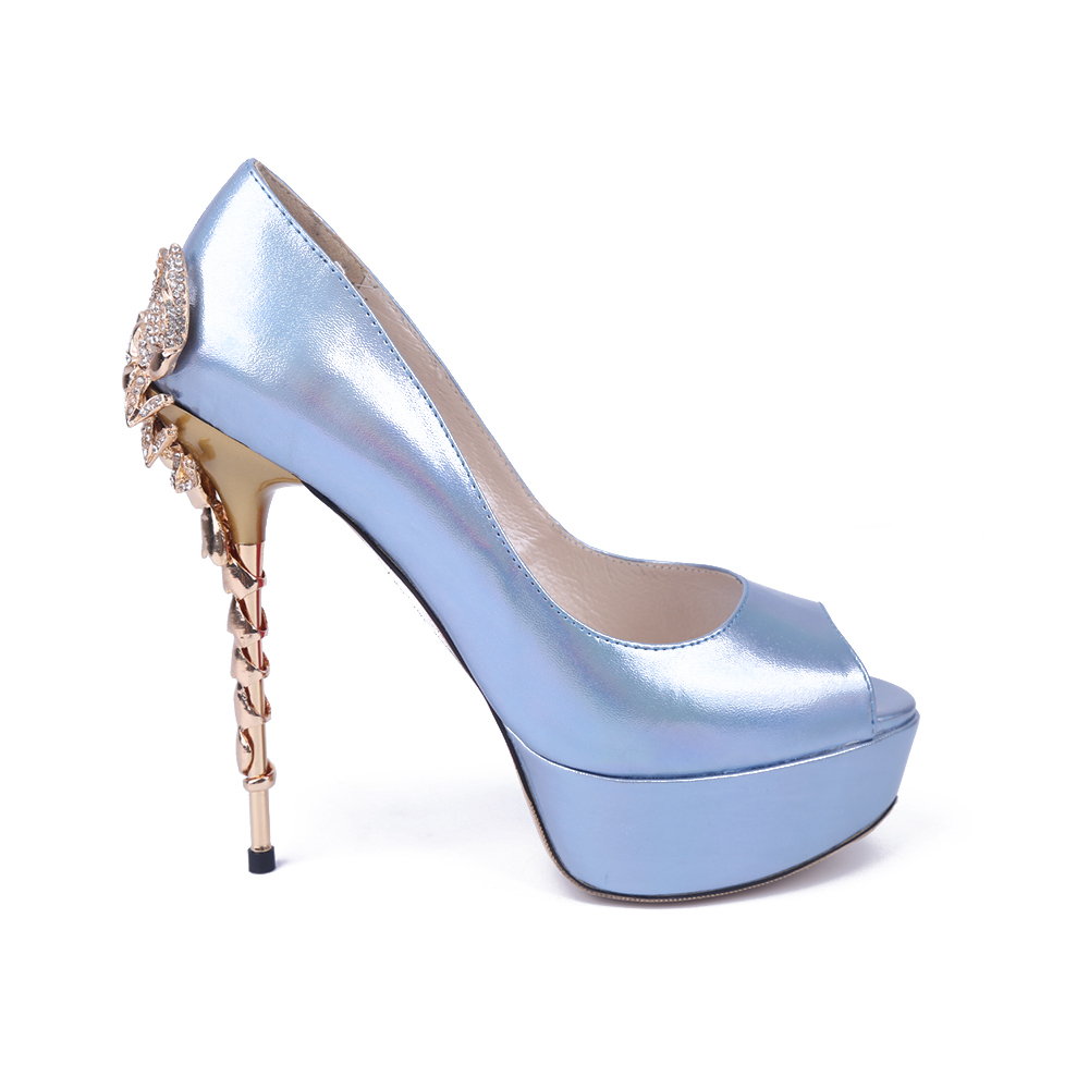 Blue And Silver High Heels - Is Heel