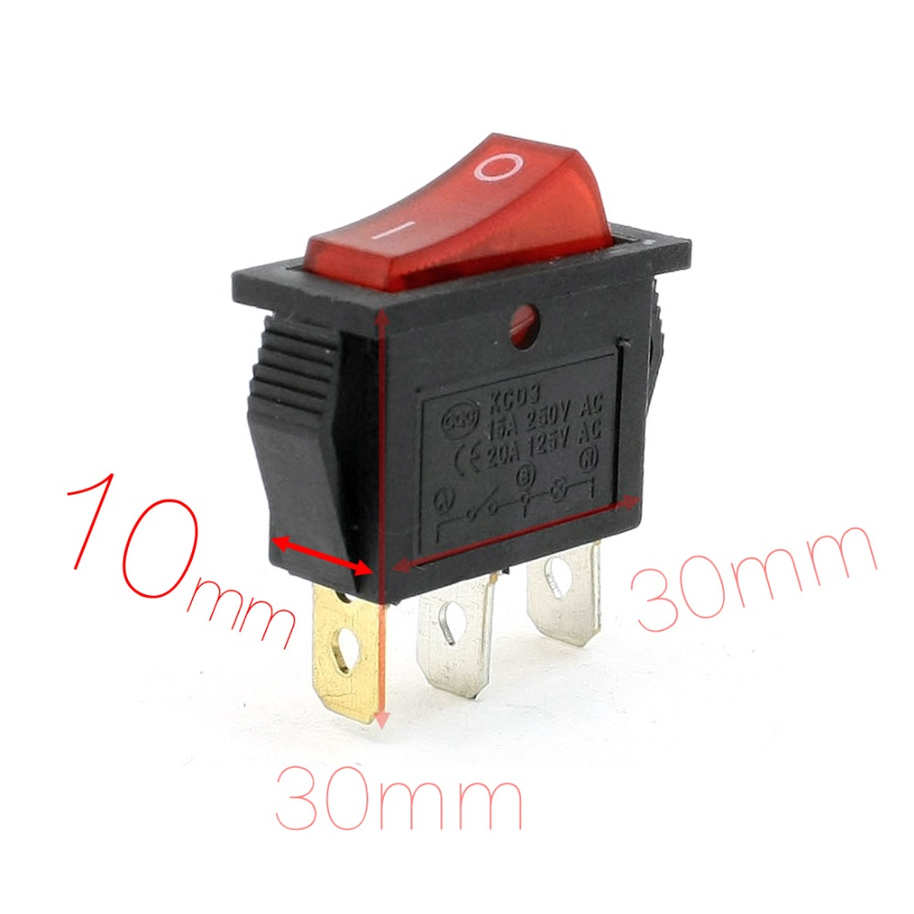 15A 250VAC 20A 125VAC 3 Pin SPST Red Light Pilot Lamp Rocker Switch Discount 70 Mount 30mm x 10mm (L*W)(China (Mainland))