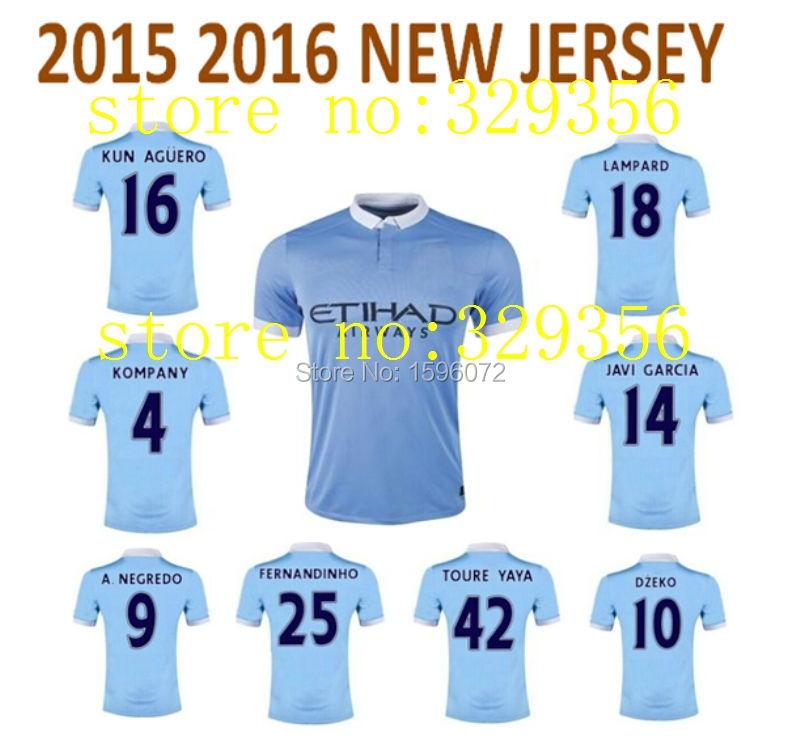 top quality 2015 2016 15 16 man adult Manchester kun Aguero City camiseta soccer jersey football futbol custom name home red(China (Mainland))