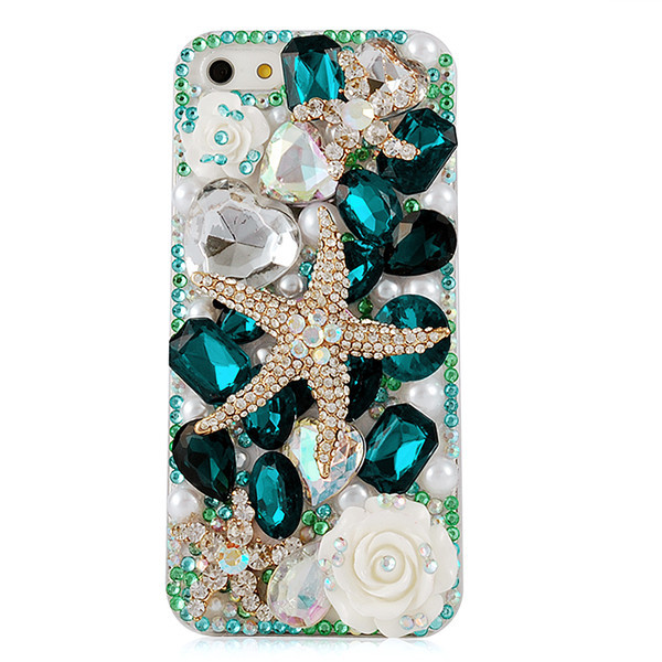 3D Handmade Crystal Starfish Sea Shell Fresh Rose Rhinestone Diamond Bling Clear Hard PC Case Back Cover For Iphone4 iPhone 4 4S(China (Mainland))