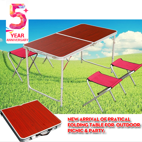 Hot sale Adjustable Height strong 120*60*70 cm size Aluminum alloy structure Folding table for outdoor dinner Picnic party(China (Mainland))