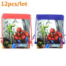 12 pcs/lot spider-man children School Bags cartoon Drawstring Bag sports shoulder backpacks Kids Drawstring Backpack