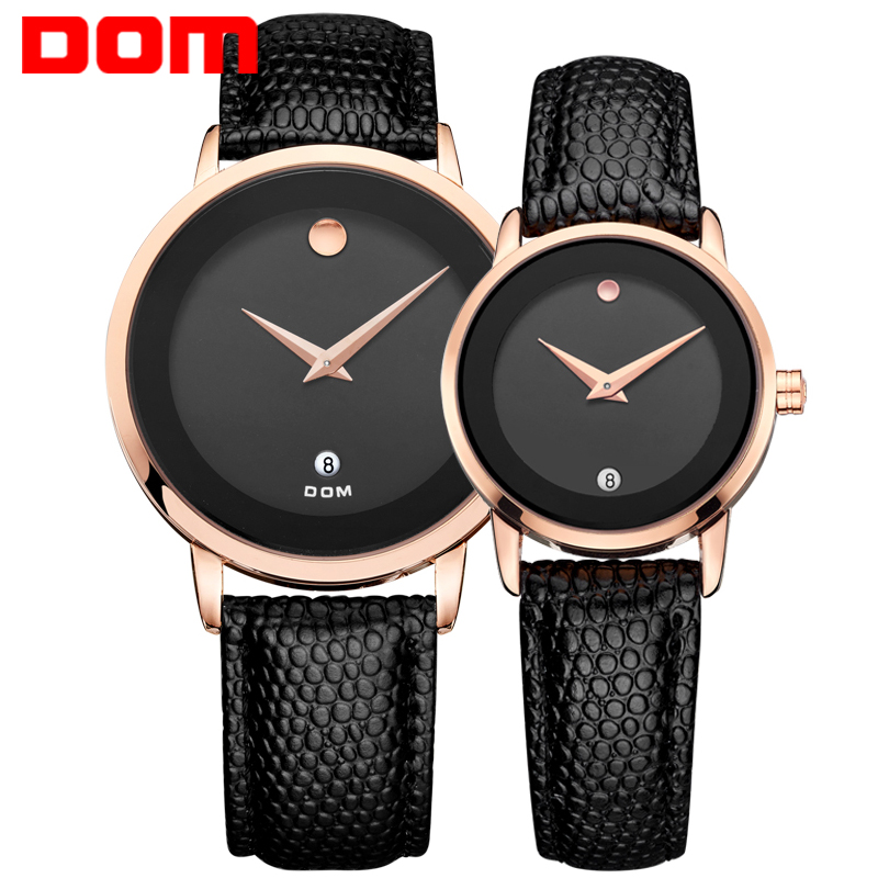 Фотография DOM lovers couple luxury brand waterproof style quartz leather watch gold watch
