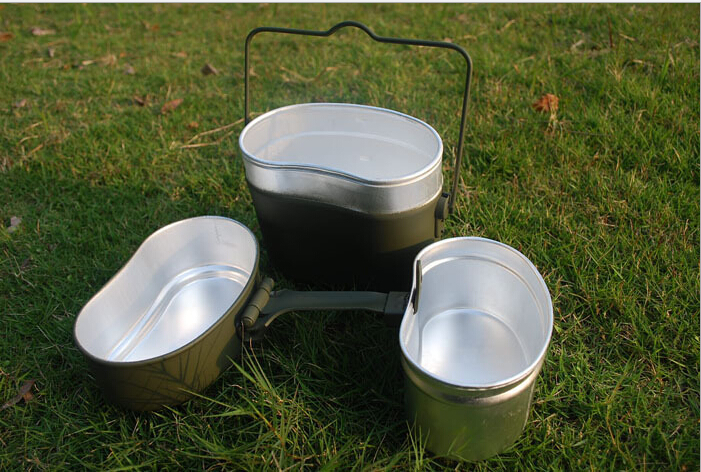Army Soldier Military Mess Kit Canteen Kettle Pot Bowl Cookware Cook Set Hiking Survival bento lunch boxes 3pcs in 1(China (Mainland))
