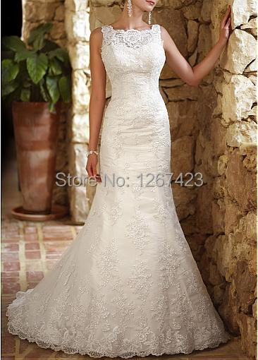 Ivory long tulle mermaid wedding dress 2014 drop waist for Lace drop waist wedding dress