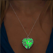 New Glow In The Dark Locket Silver Hollow Glowing Stone Pendant Statement Chocker Pendants Necklace For Women P1170(China (Mainland))