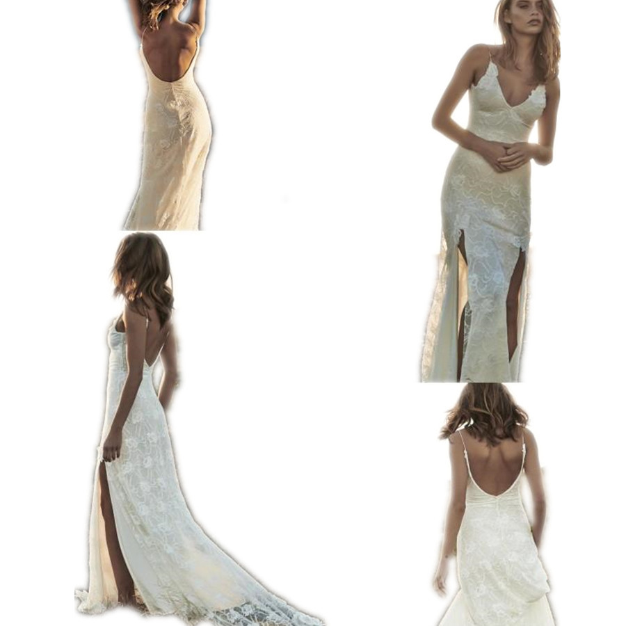 Buy sexy lace backless split side beach for Buy beach wedding dress