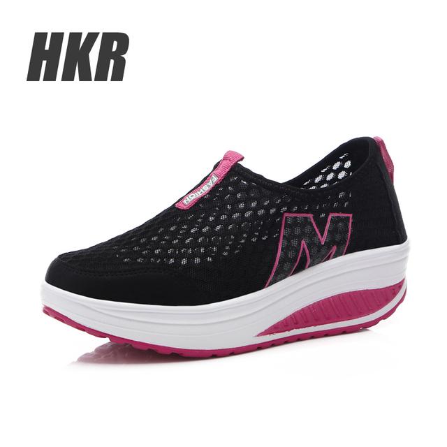 HKR 2015 Осень женщины платформа клин обувь женская обувь zapatos mujer, женщин повседневная ...