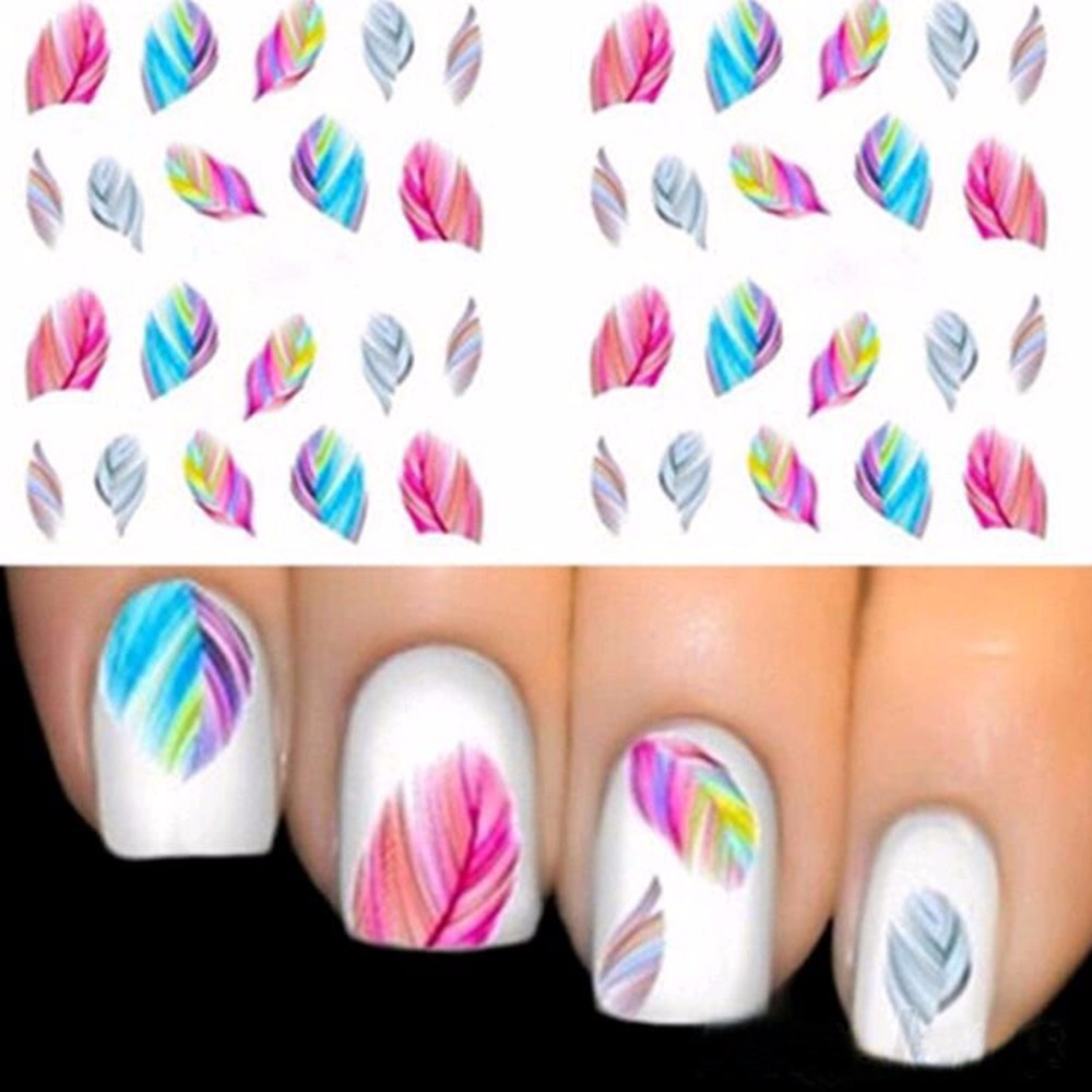 1 pc, Fashionable Nail Decorations Art Tips Feather Water Transfers Nail Sticker for Ladies Feather Decals nail art tools(China (Mainland))